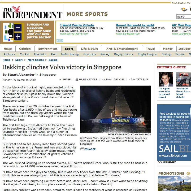 Bekking victory in Singapore - The Independent (20090327).jpg