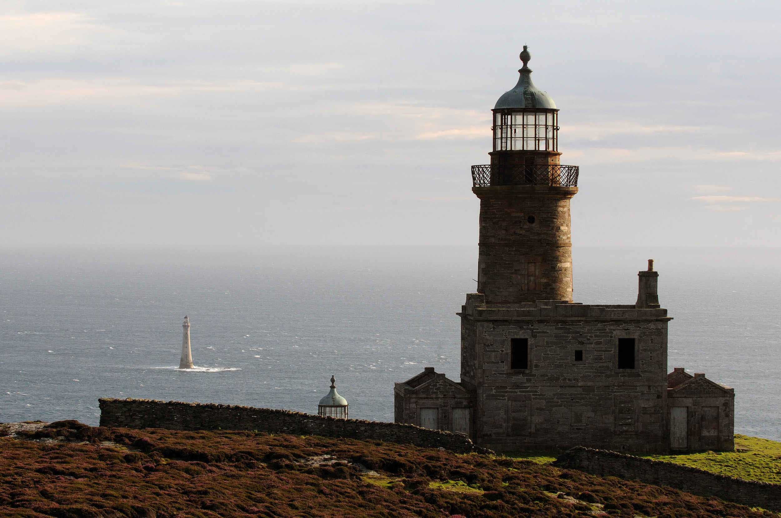 The Stevenson lighthouses on the Calf of Man, pointing towards Chicken Rock