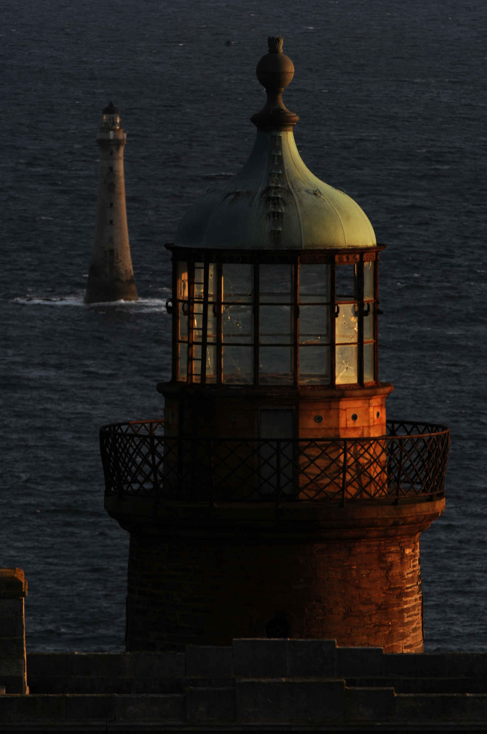 The Stevenson lighthouses on the Calf of Man, pointing towards Chickens Rock