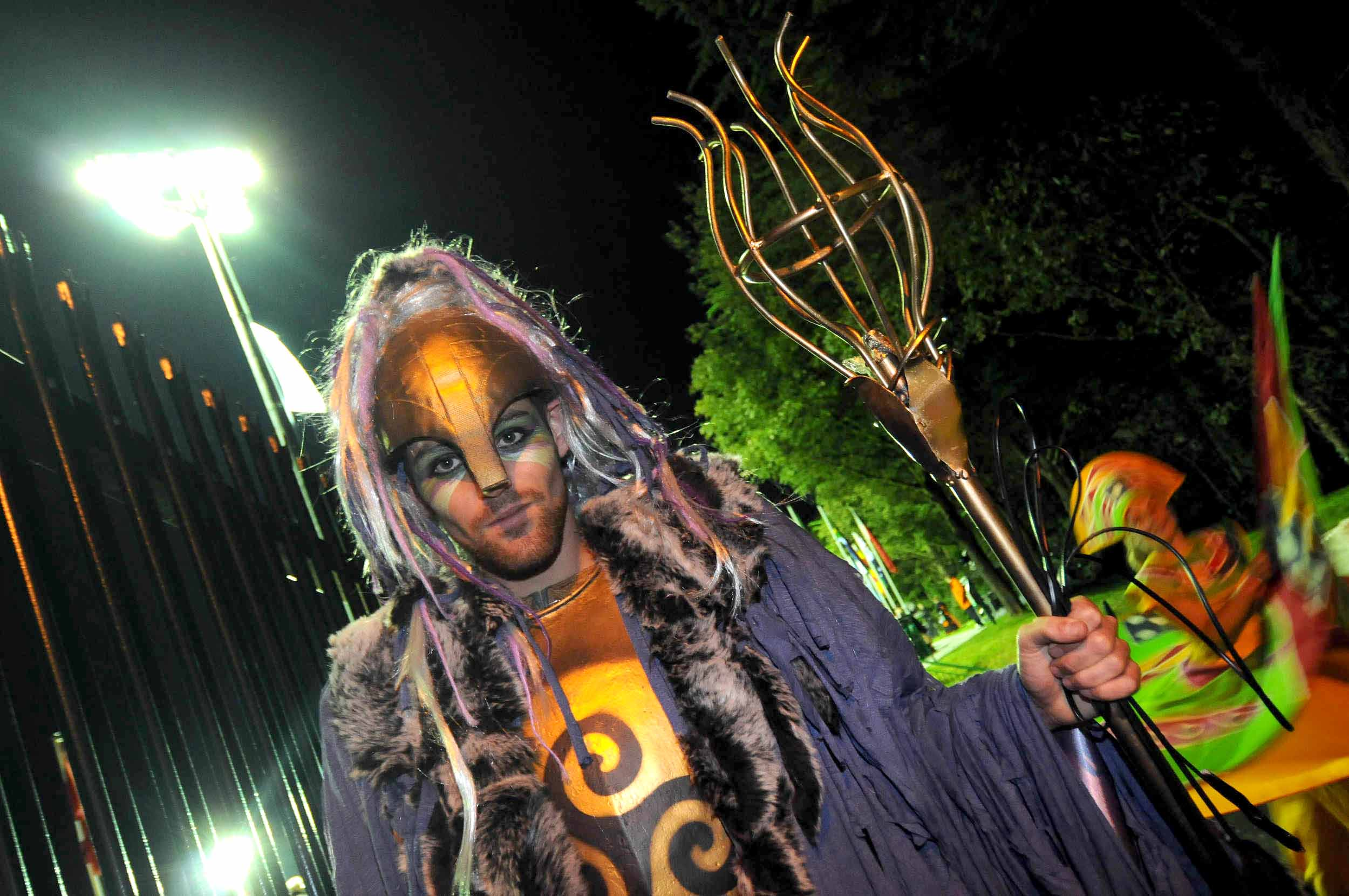 A performer representing Celtic sea god Manannan during the opening ceremony of the 2011 Commonwealth Youth Games.