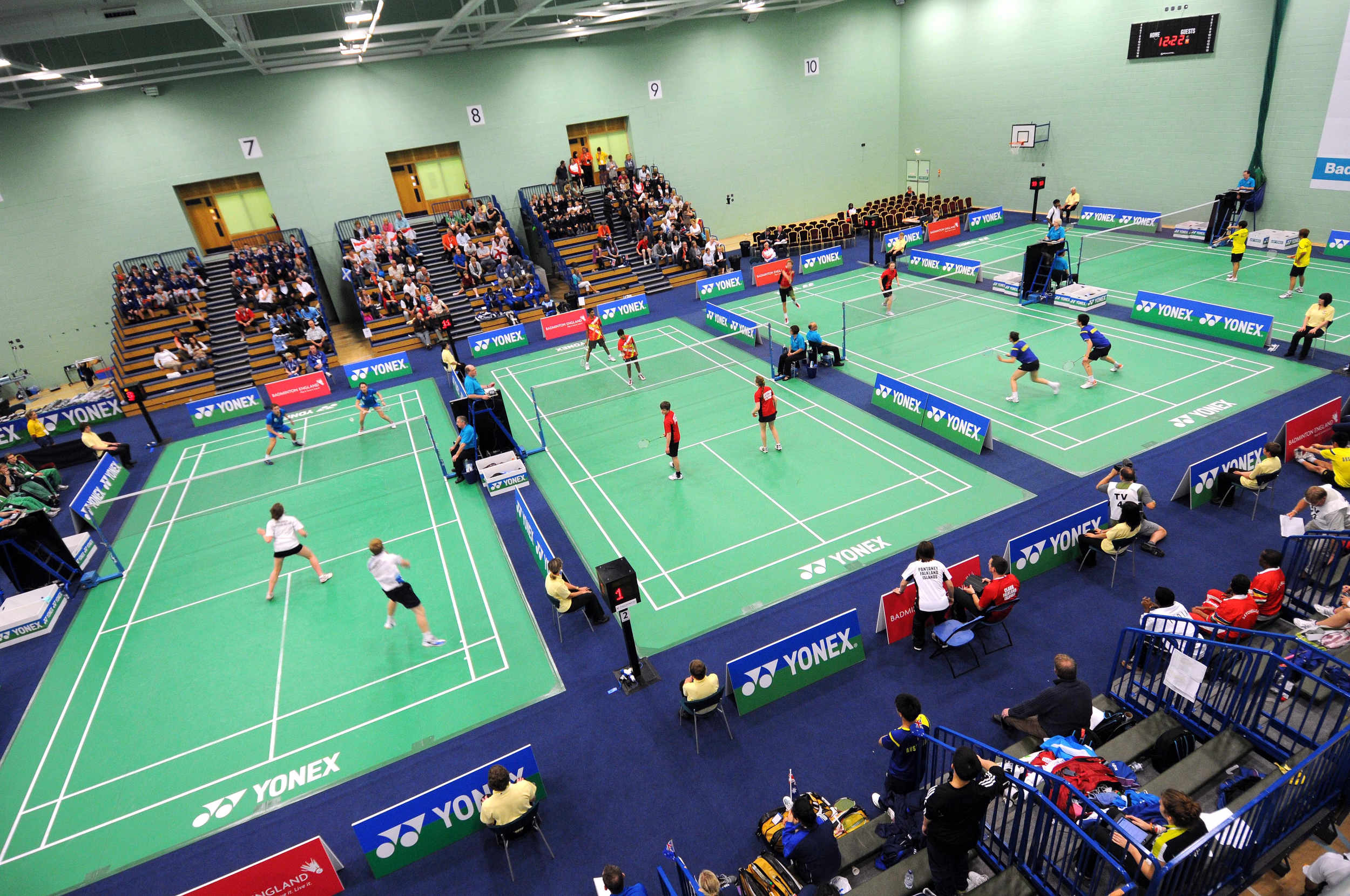 The Badminton arena in the Isle of Man National Sports Centre on Day one of the 2011 Commonwealth Youth Games