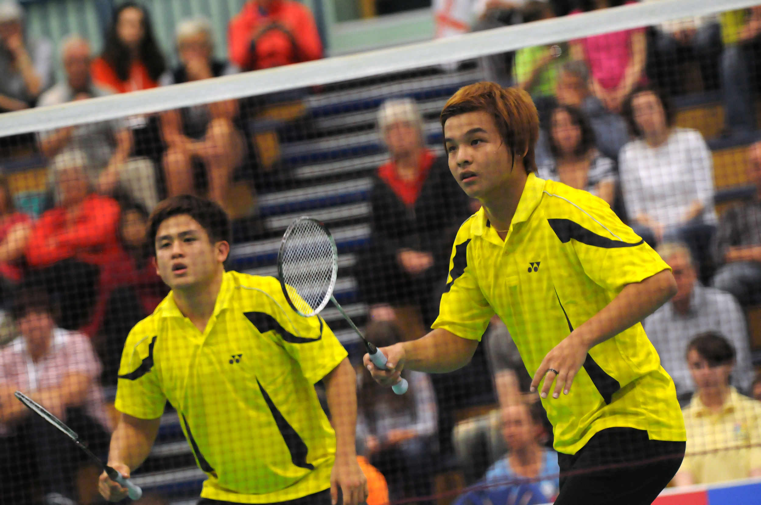 Nelson Heg and Ee yi Teo representing Malaysia win the gold medal in the Men's Doubles Badminton at the 2011 Commonwealth Youth Games