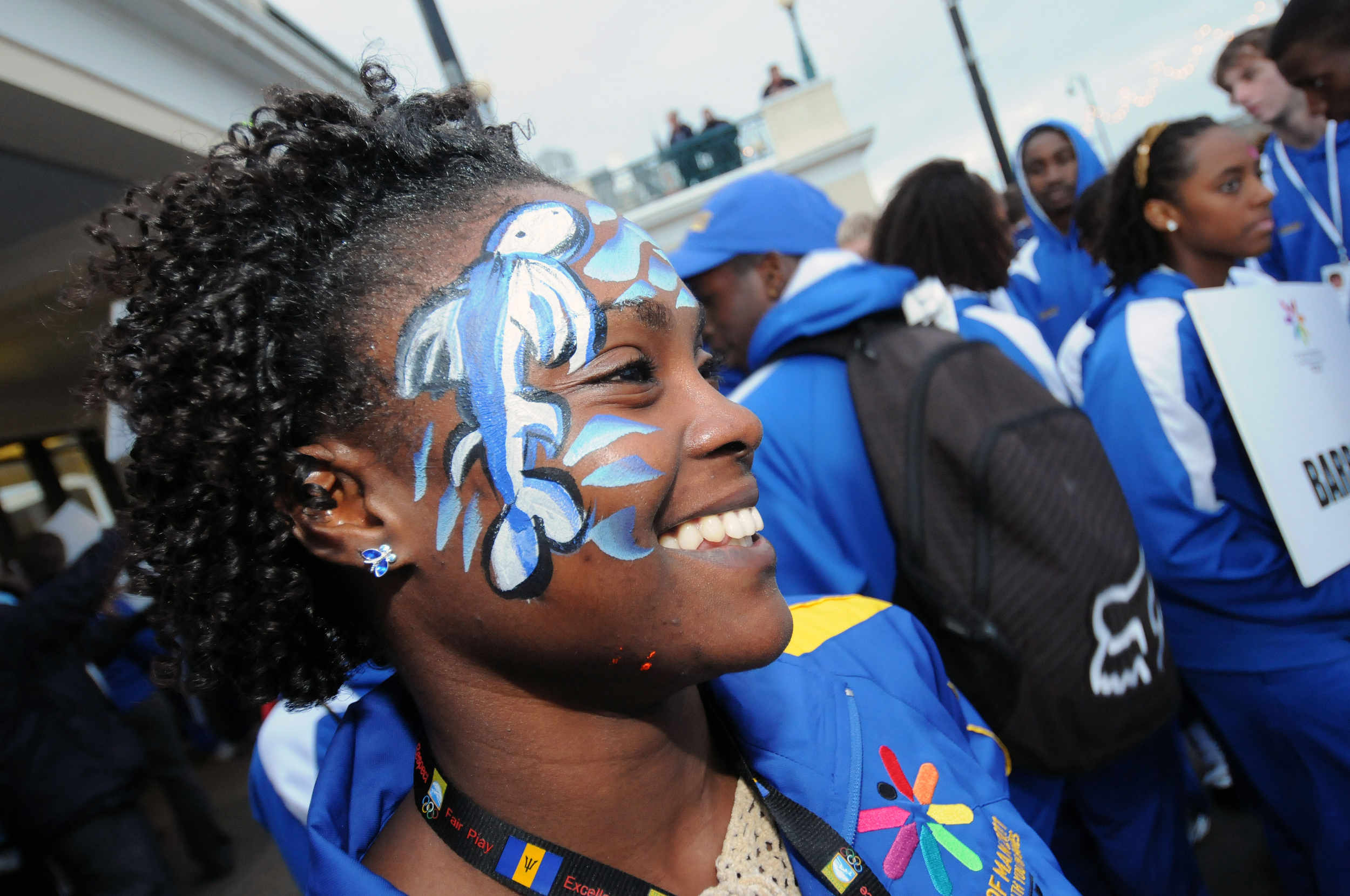 An athlete from Barbados at the closing ceremony for the 2011 Commonwealth Youth Games