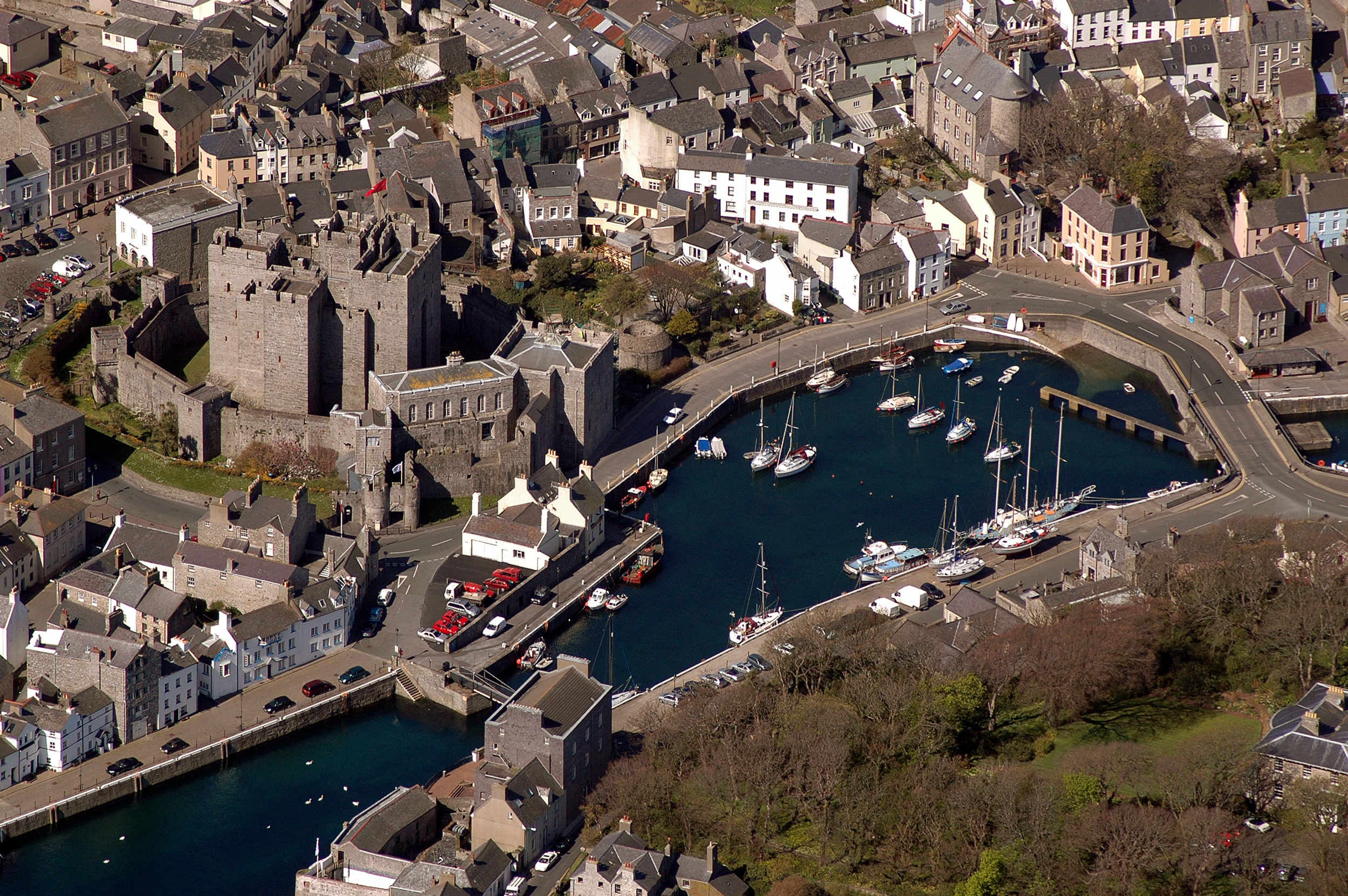 Castletown harbour and Castle Rushen