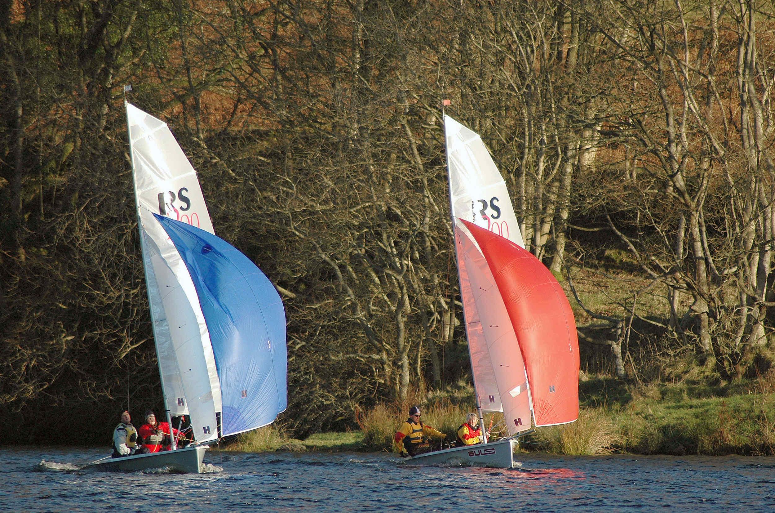 Winter dinghy sailing on West Baldwin reservoir