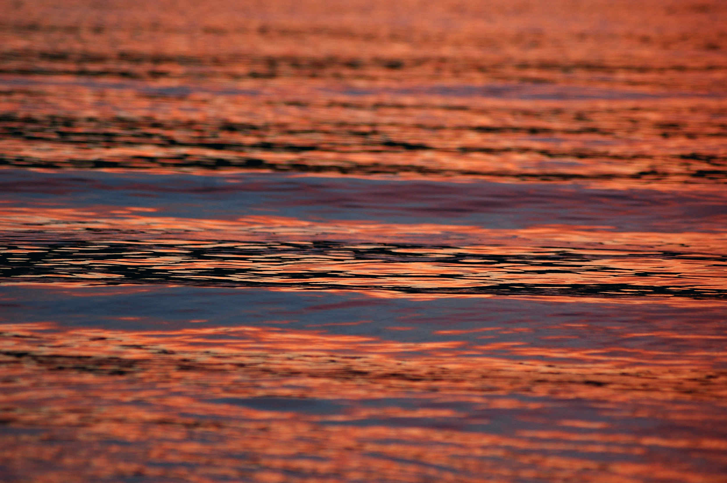 A calm sea reflects the evening light the Sound