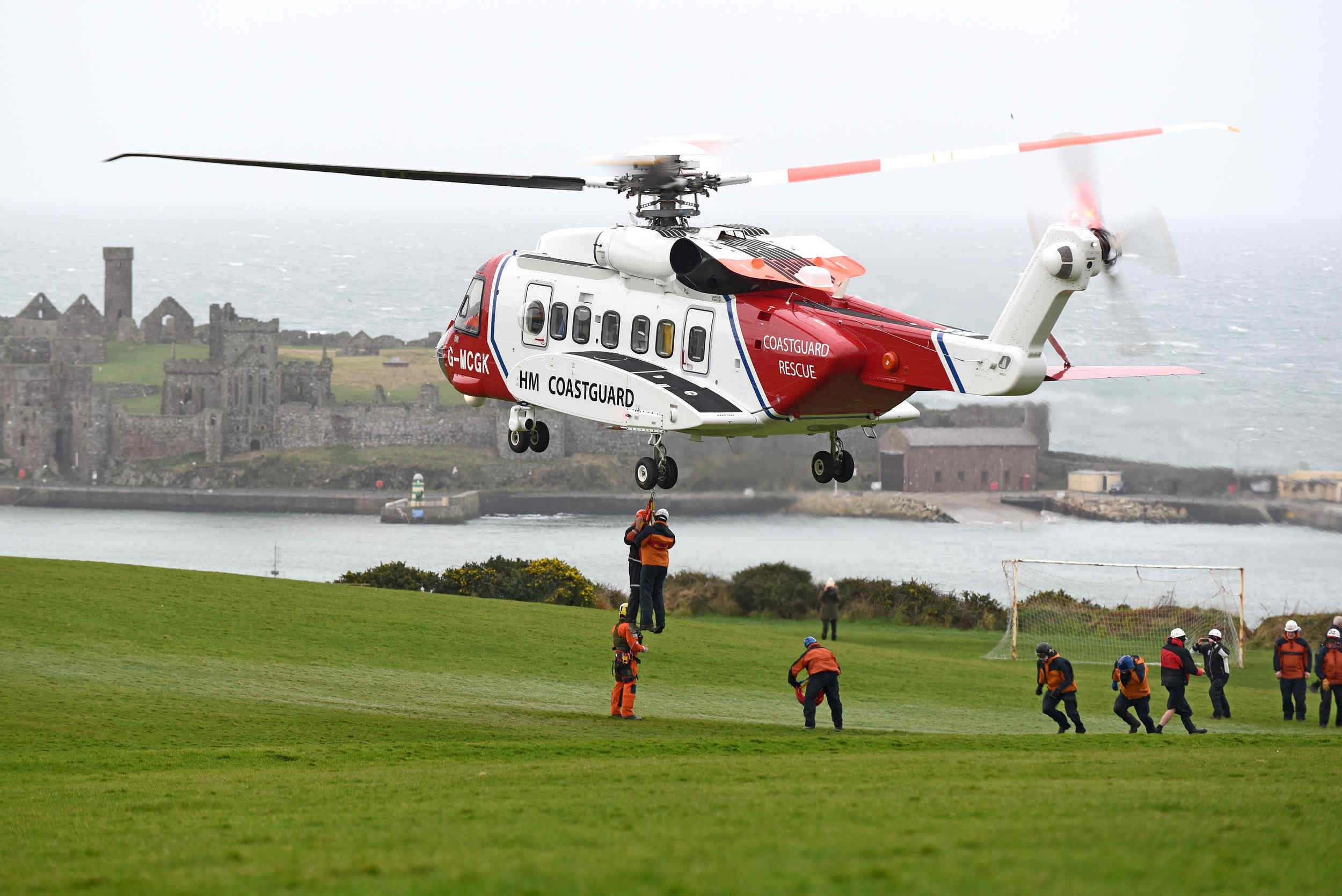 A coastguard helicopter takes part in an exercise with Civil Defence teams in Peel
