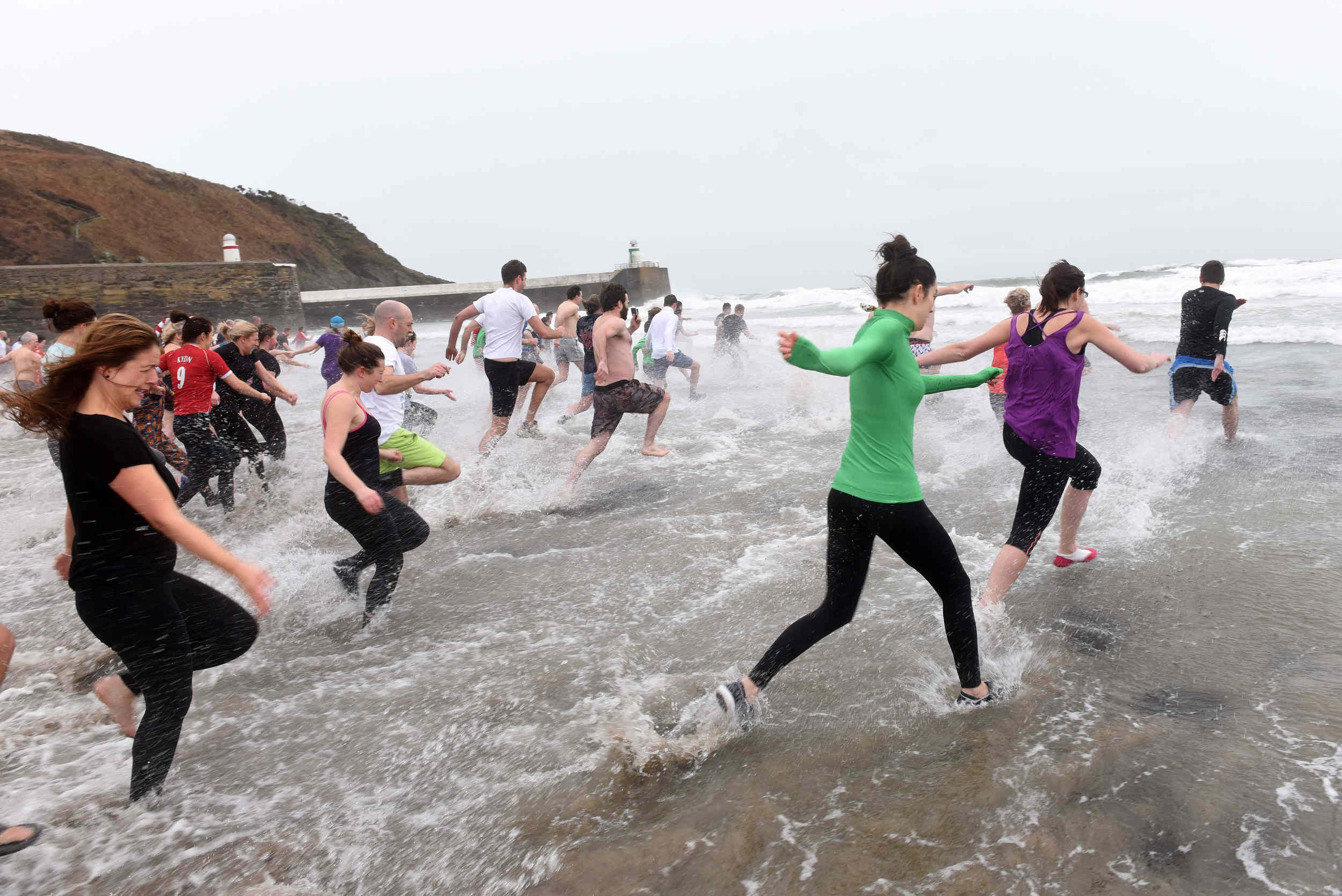 The New Year's Day dip in Laxey