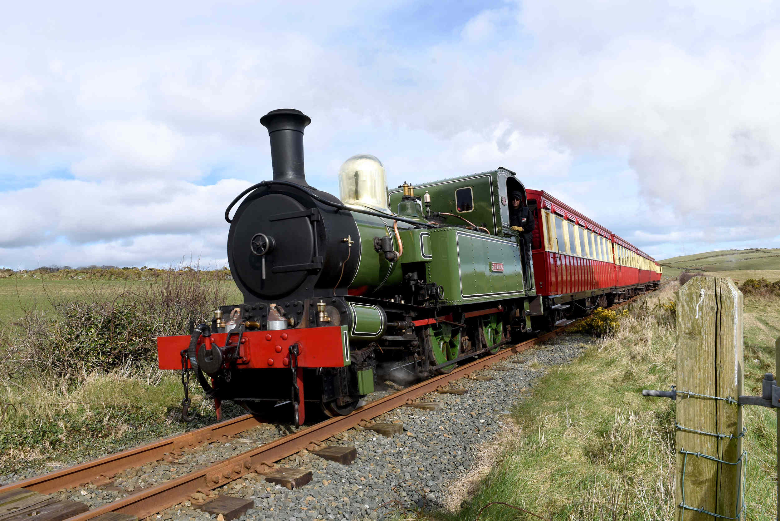 Isle of Man Steam Railway's locomotive CH Wood at Port Soderick on Sunday, March 6 2016.