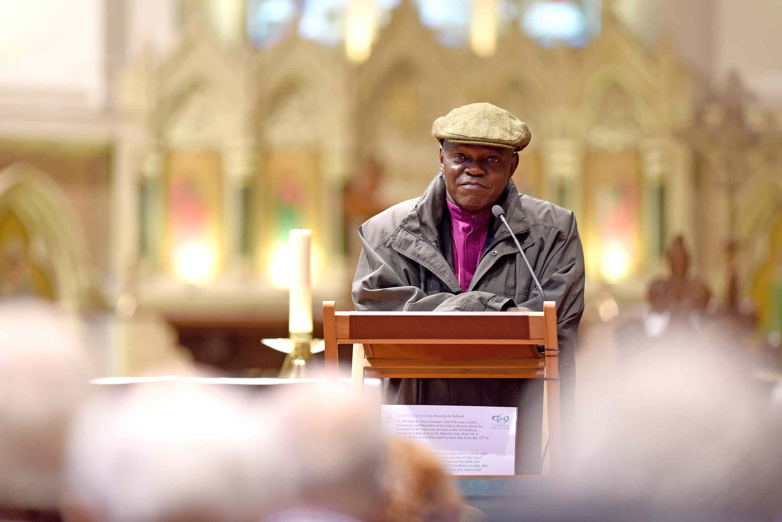 Archbishop of York John Sentamu hosts a question and answer session at Peel Cathedral