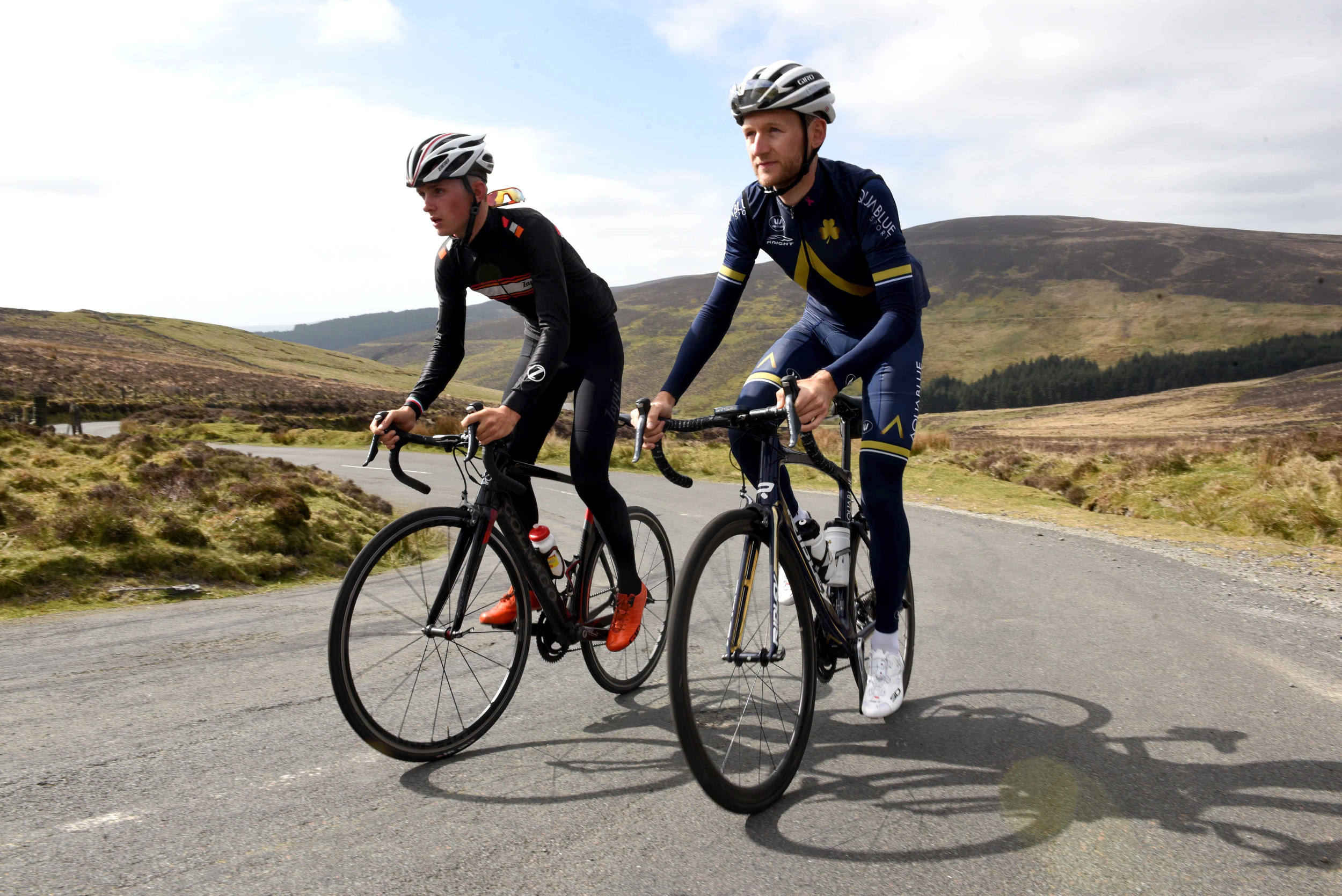 Cyclists Owen Dudley and Mark Christian at the top of the Gran Fondo climb at West Baldwin, part of a promotional shoot for Cyclefest 2017