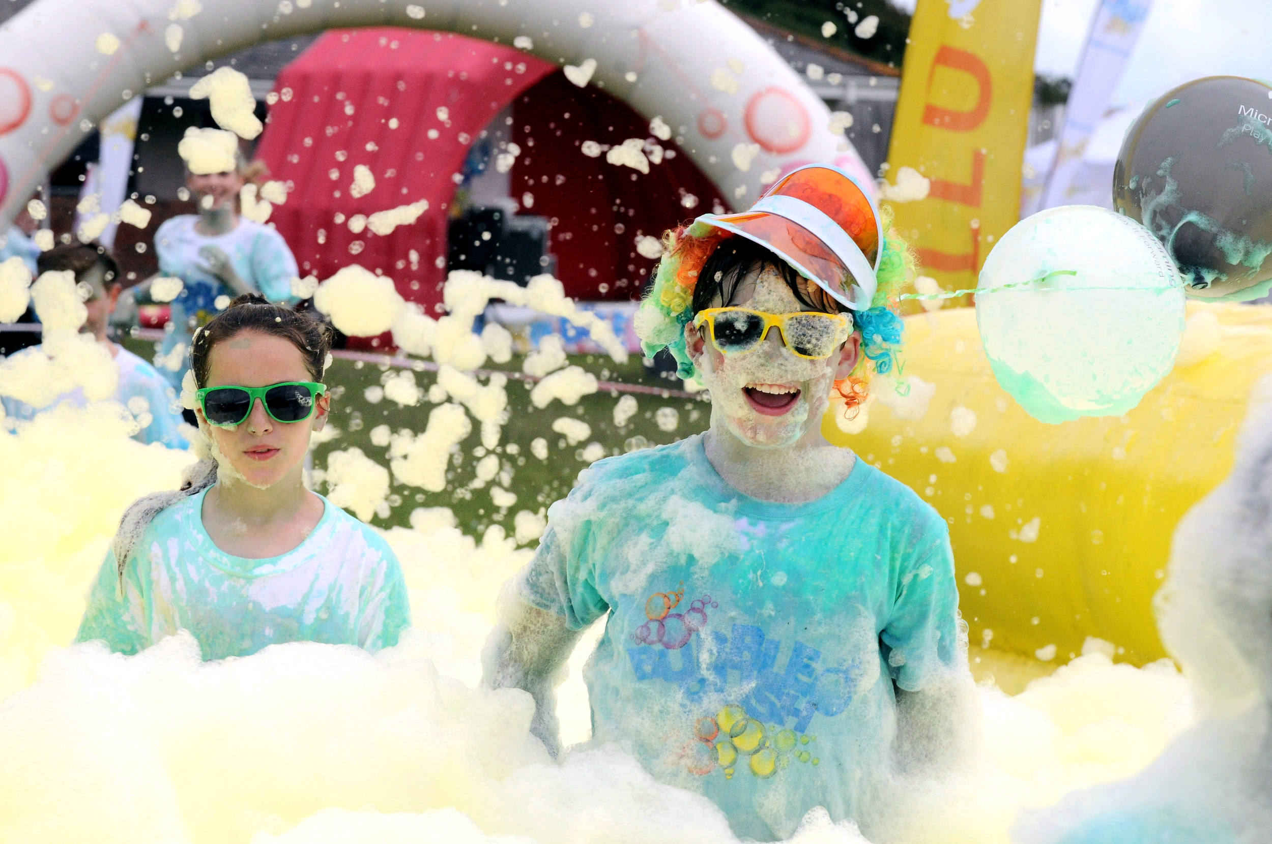 The Bubble Rush around Mooragh Park, Ramsey, in aid of Hospice Isle of Man