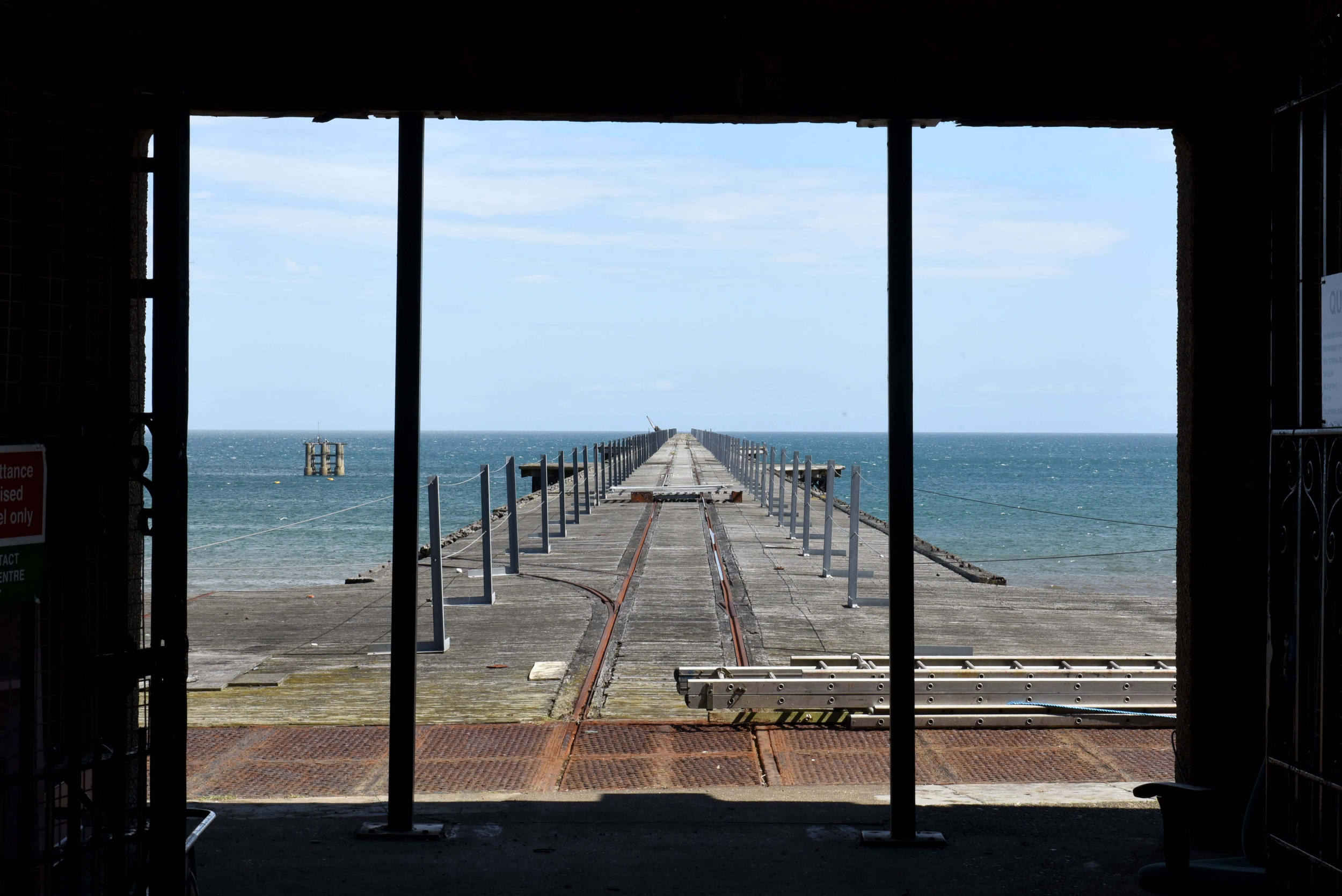Preparatory work begins on the community project to restore the Queen's Pier in Ramsey
