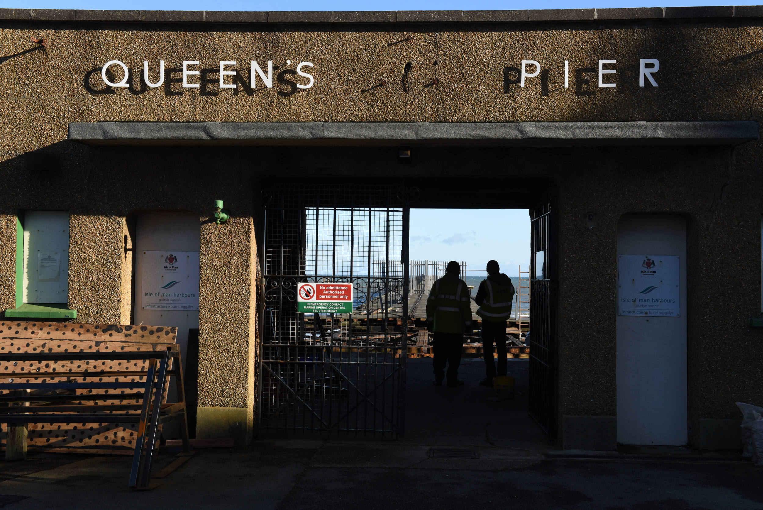 Restoration work begins on the Queen's Pier, Ramsey