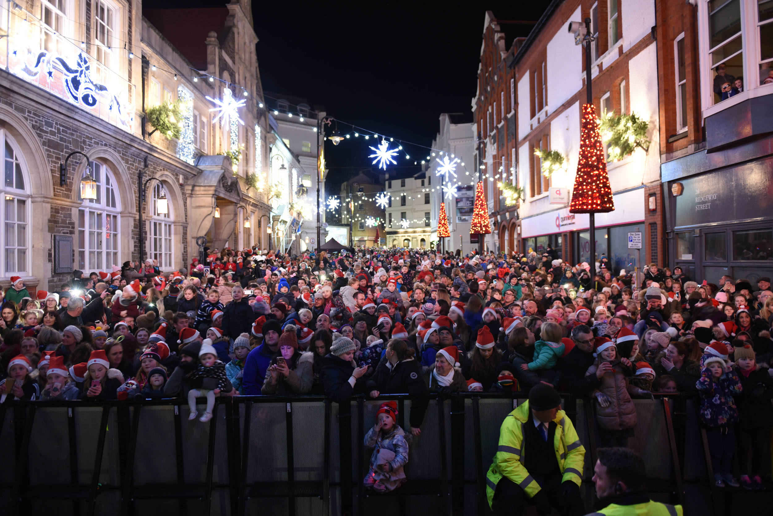 Christmas Lights are switched on outside Douglas Town Hall
