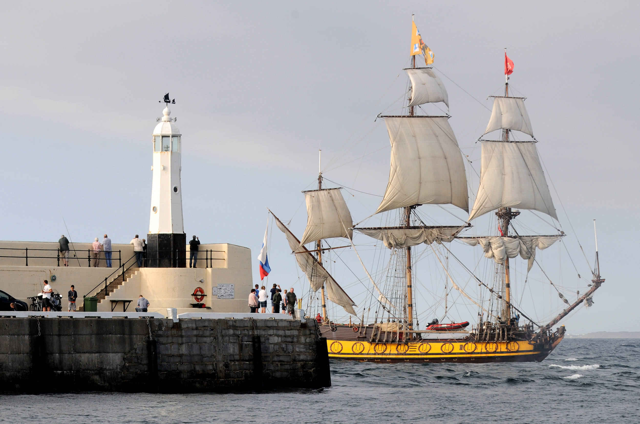 The tall ship 'Shtandart', a replica of a Russian frigate originally built in 1703, arrives in Peel