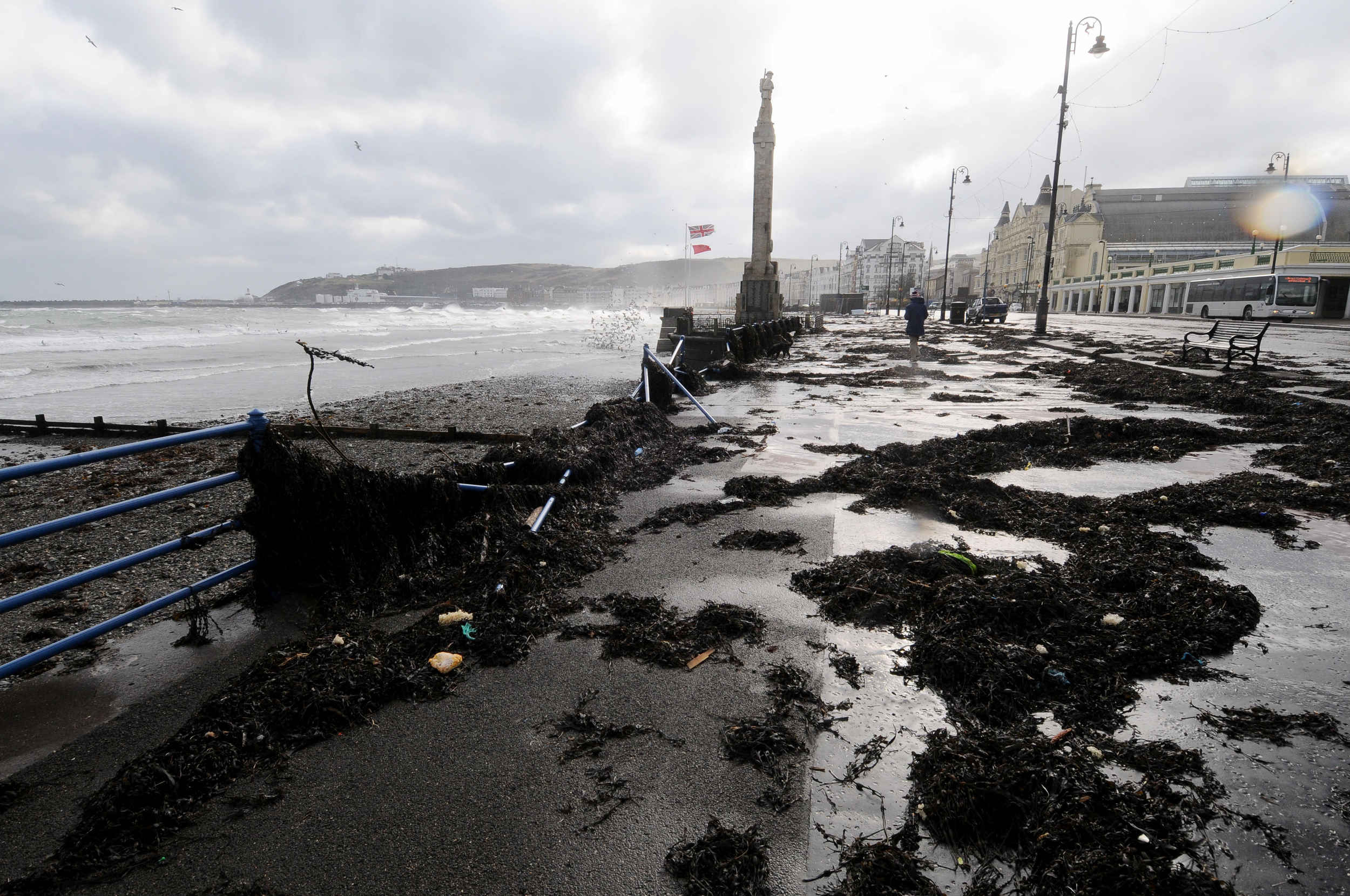 Breaking waves and flying debris during Storm Emma caused damage near the War Memorial on Douglas Promenade
