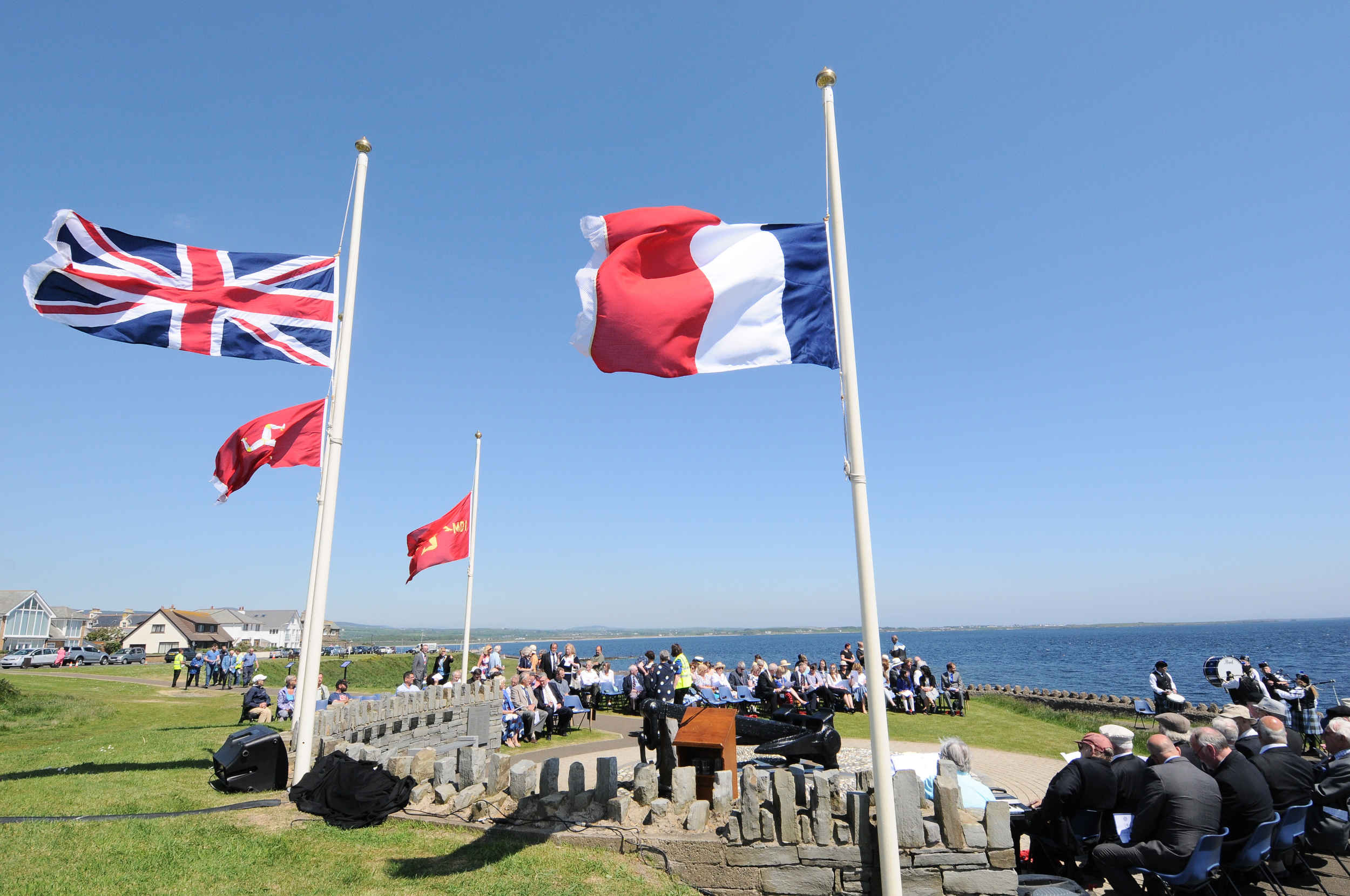 A service to remember the contribution of the Isle of Man Steam Packet Company to the Dunkirk evacuation, at the site of the recovered anchor from the Mona's Queen III, which was destroyed by a mine on May 29, 1940