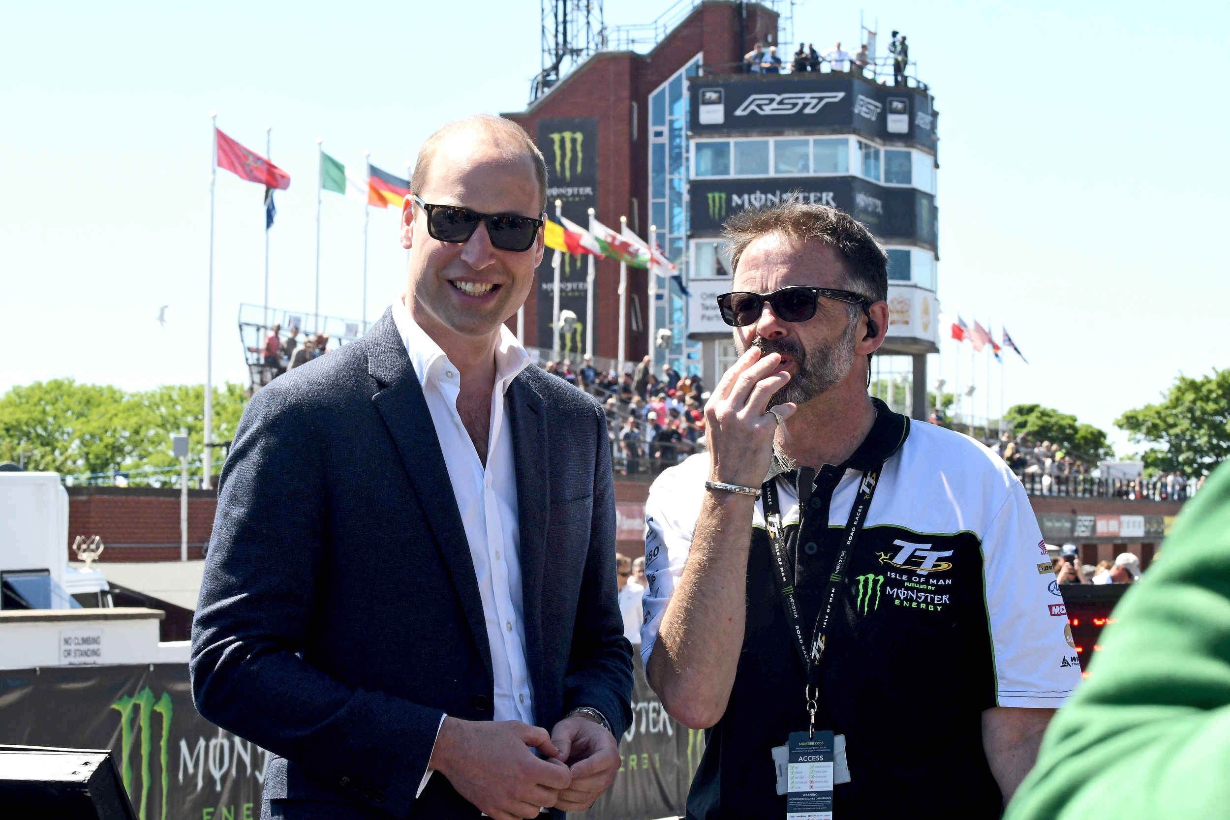 His Royal Highness the Duke of Cambridge visits the grandstand during the Isle of Man TT races