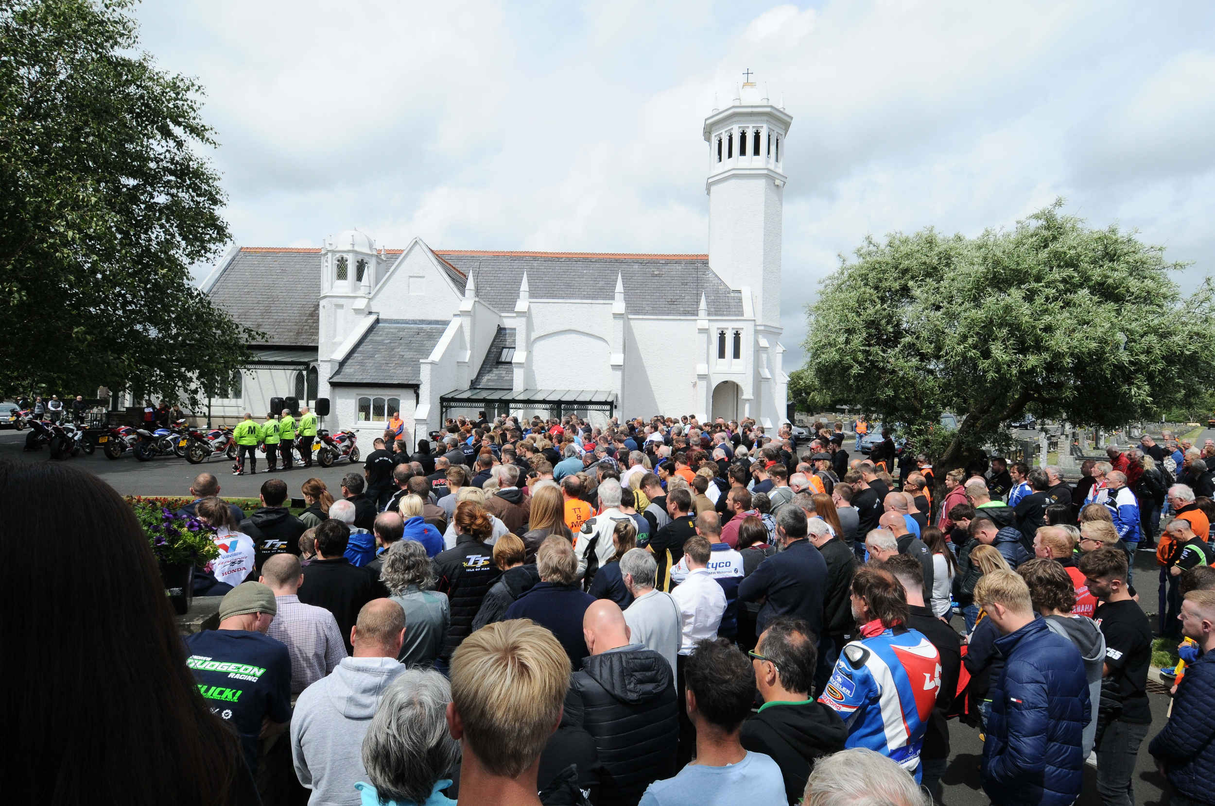 The funeral of Manx road racer Dan Kneen