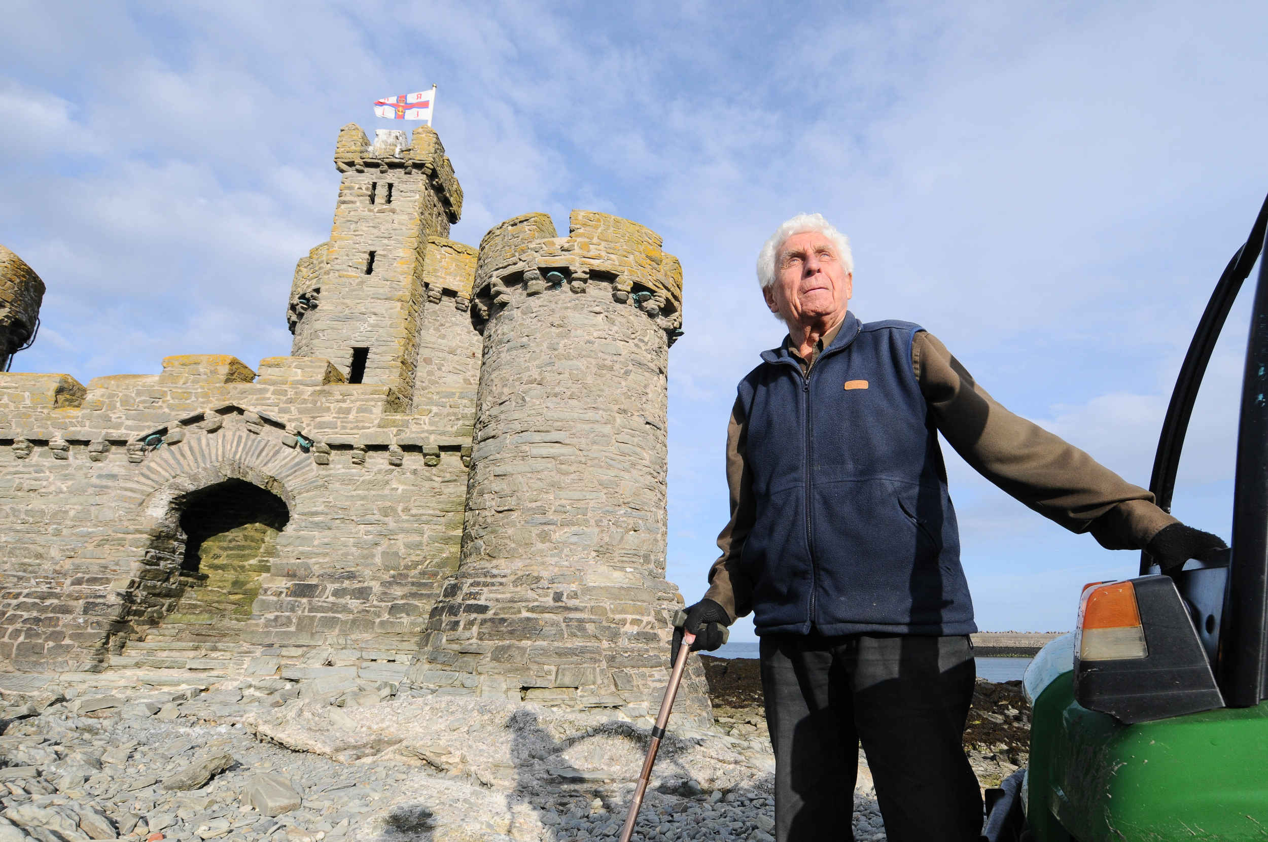 Historian, Journalist and broadcaster Terry Cringle is given a lift to the Tower of Refuge by the Coastguard