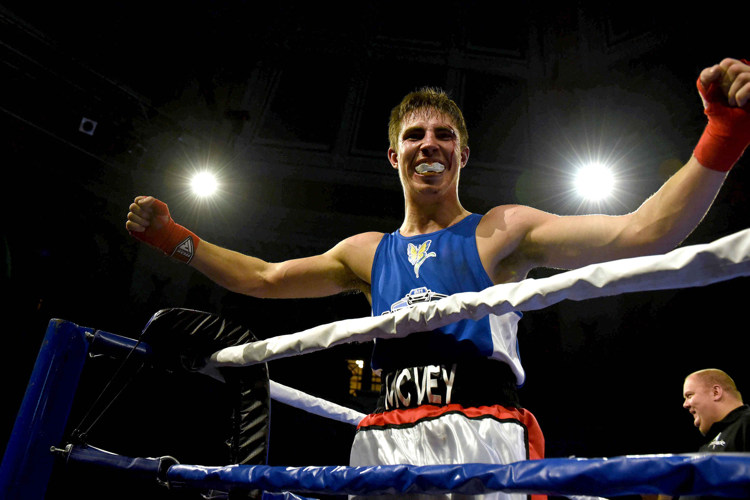Scott McVey wins a bout in the 2018 'Thriller in the Villa' charity boxing night at the Villa Marina