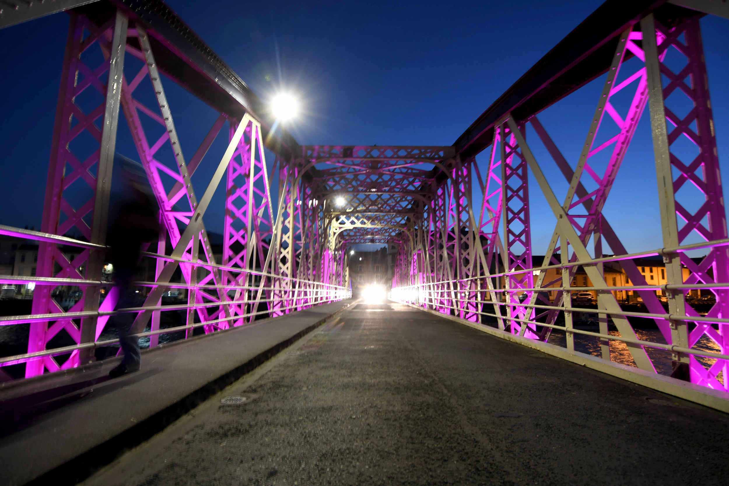 Ramsey Swing Bridge is lit in purple to mark World Prematurity Day