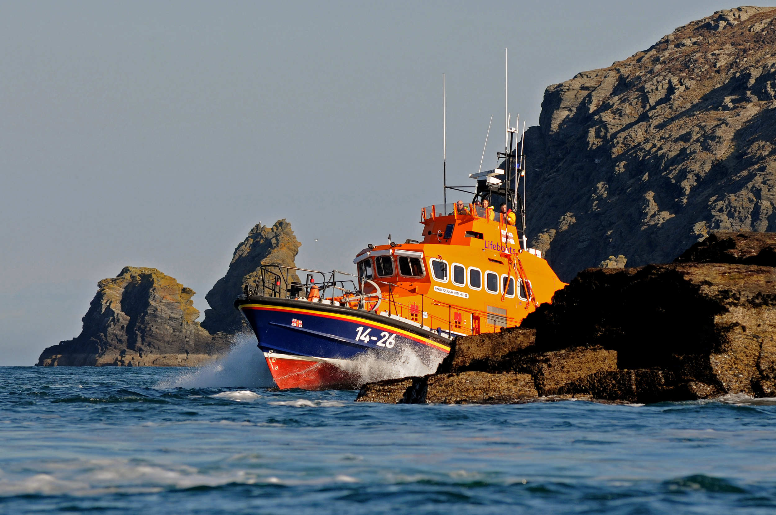 Port st Mary Lifeboat, the Trent Class 'Gough Ritchie II', around the south coast of the Isle of Man.