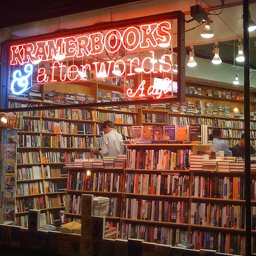 Kramerbooks & Afterwords - Kramers is at Dupont Circle so you can take the red line, walk a short way from the green and yellow lines, or take the D2, D6, the Circulator, or about a thousand other buses.