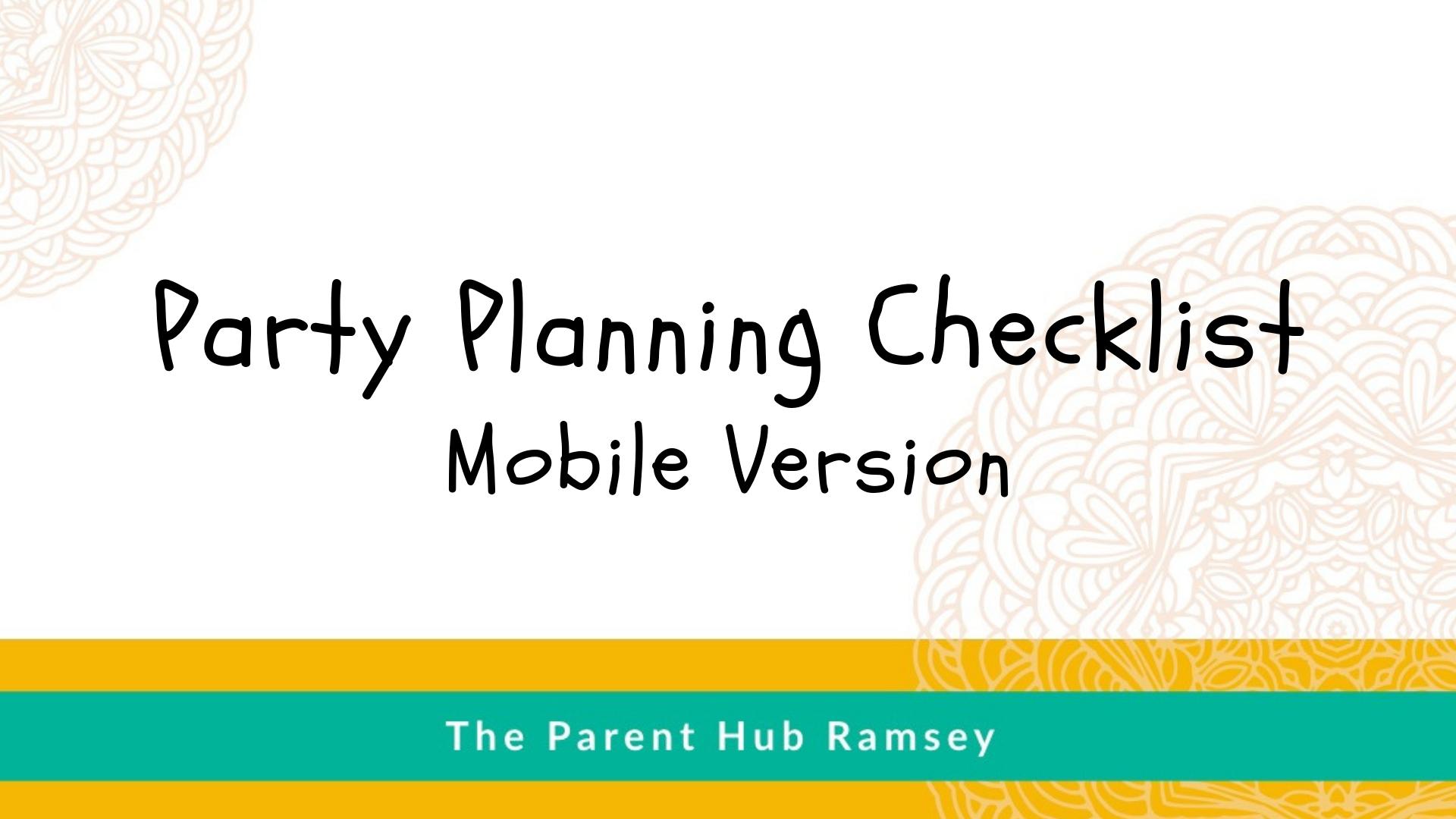 Kids Birthday Party Planning Checklist