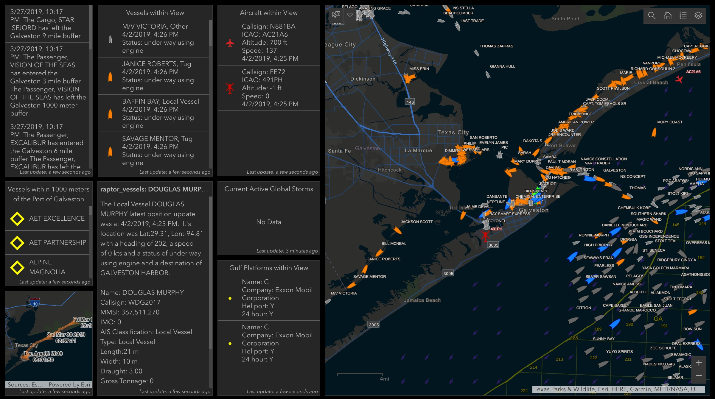 Raptor Geo-IoT services inside of esri's Operations Dashboard in ArcGIS Online. This shows geofence and realtime vessel capabilties at the Port of Galveston The AIS vessel information is provided by Spire (spire.com)