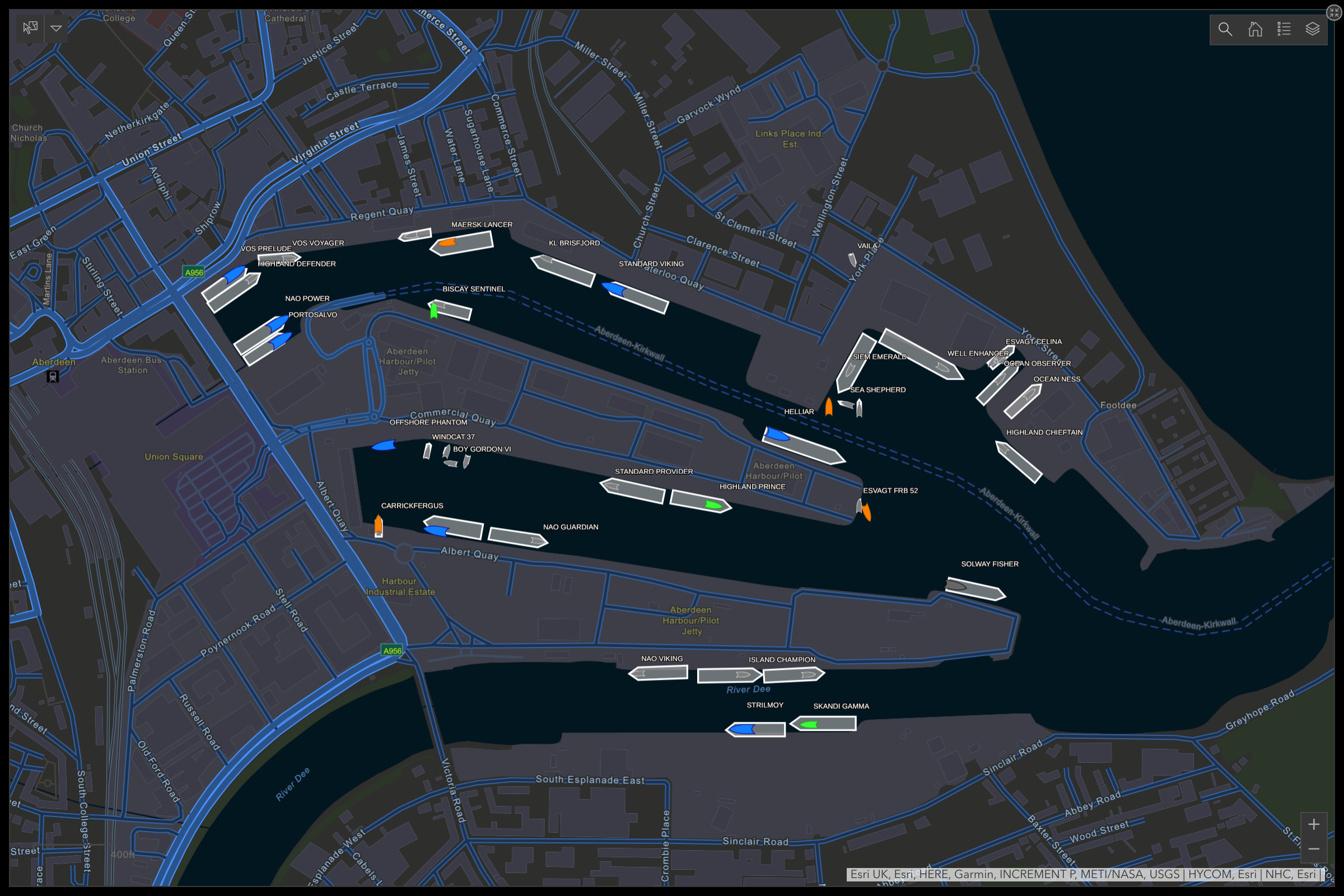 Raptor Geo-IoT services inside of esri's Operations Dashboard in ArcGIS Online. This shows geofence and realtime vessel capabilties at the Port of Aberdeen. The AIS vessel information is provided by Spire (spire.com)