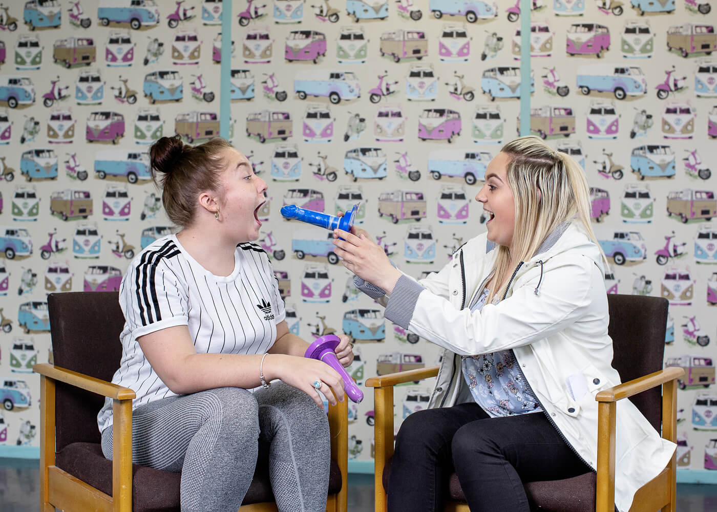 The Nuptial Act, Belfast.  New mothers, 18-years-old, mess around after learning how to put on condoms in a sex-education class. The Catholic church decides sex education in Irish schools. Often this means a focus on pregnancy but not on sex, and in many cases abstinence is taught instead of contraception.