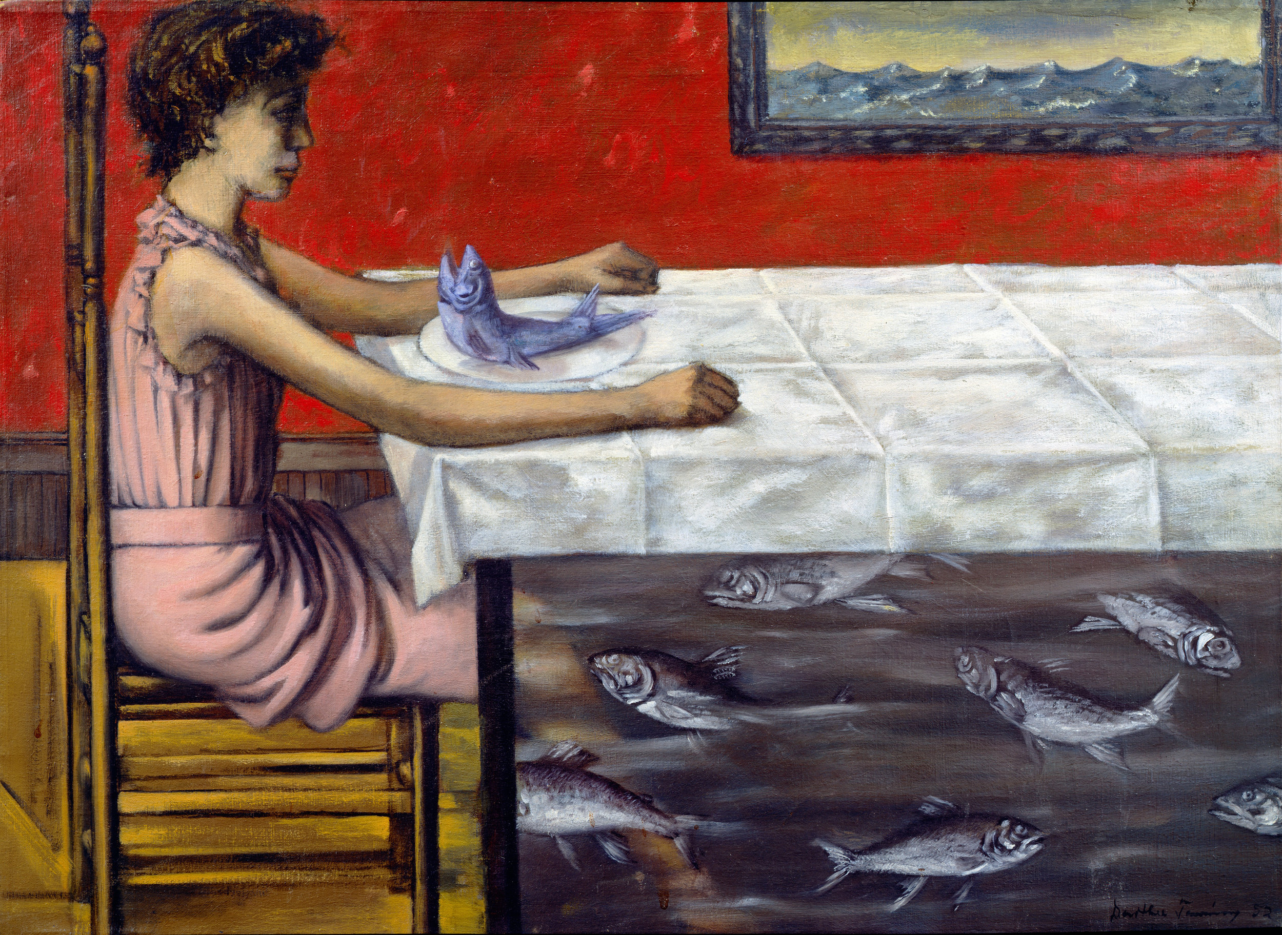 Dorothea Tanning (1910 – 2012) La Truite au bleu (Poached Trout) 1952 Oil paint on canvas 400 x 550 mm Michael Wilkinson, New Orleans, L.A © DACS, 2019.jpg