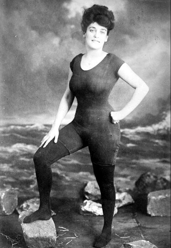 In 1907 swimmer Annette Kellermann was arrested for wearing one piece swimsuit , afterwards, she marketed her own line & revolutionized womens swimwear