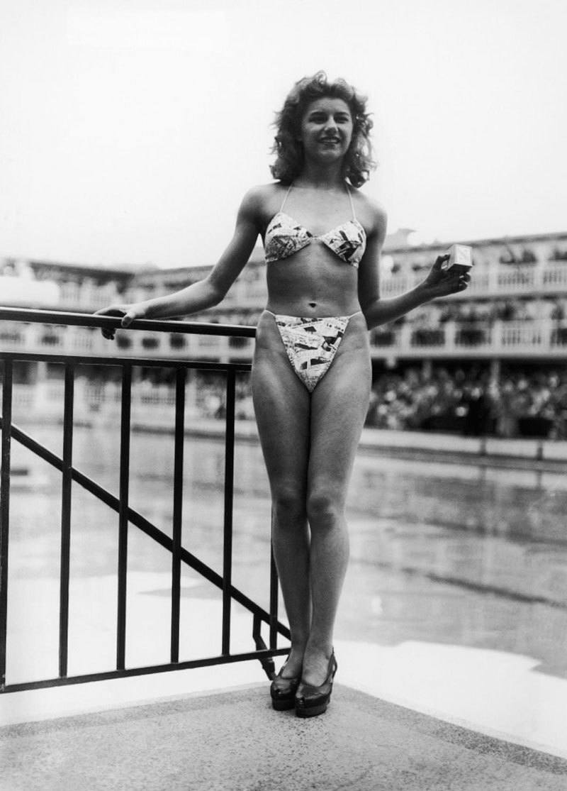 Micheline Bernardini modeling the first bikini on 5 July 1946 at the Piscine Molitor in Paris