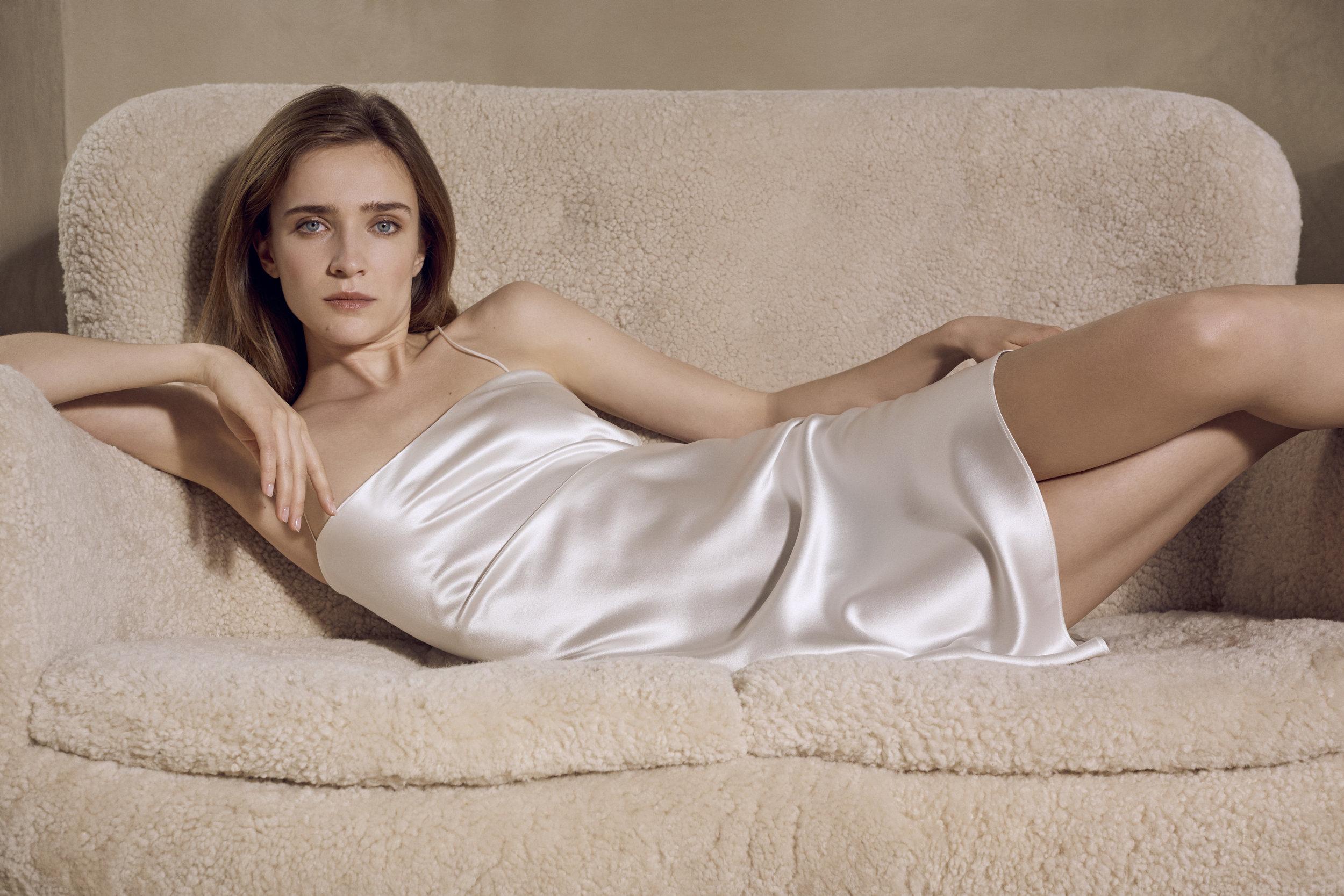 REFINE | The Rachel | Silk Mini Slip Dress in Ivory