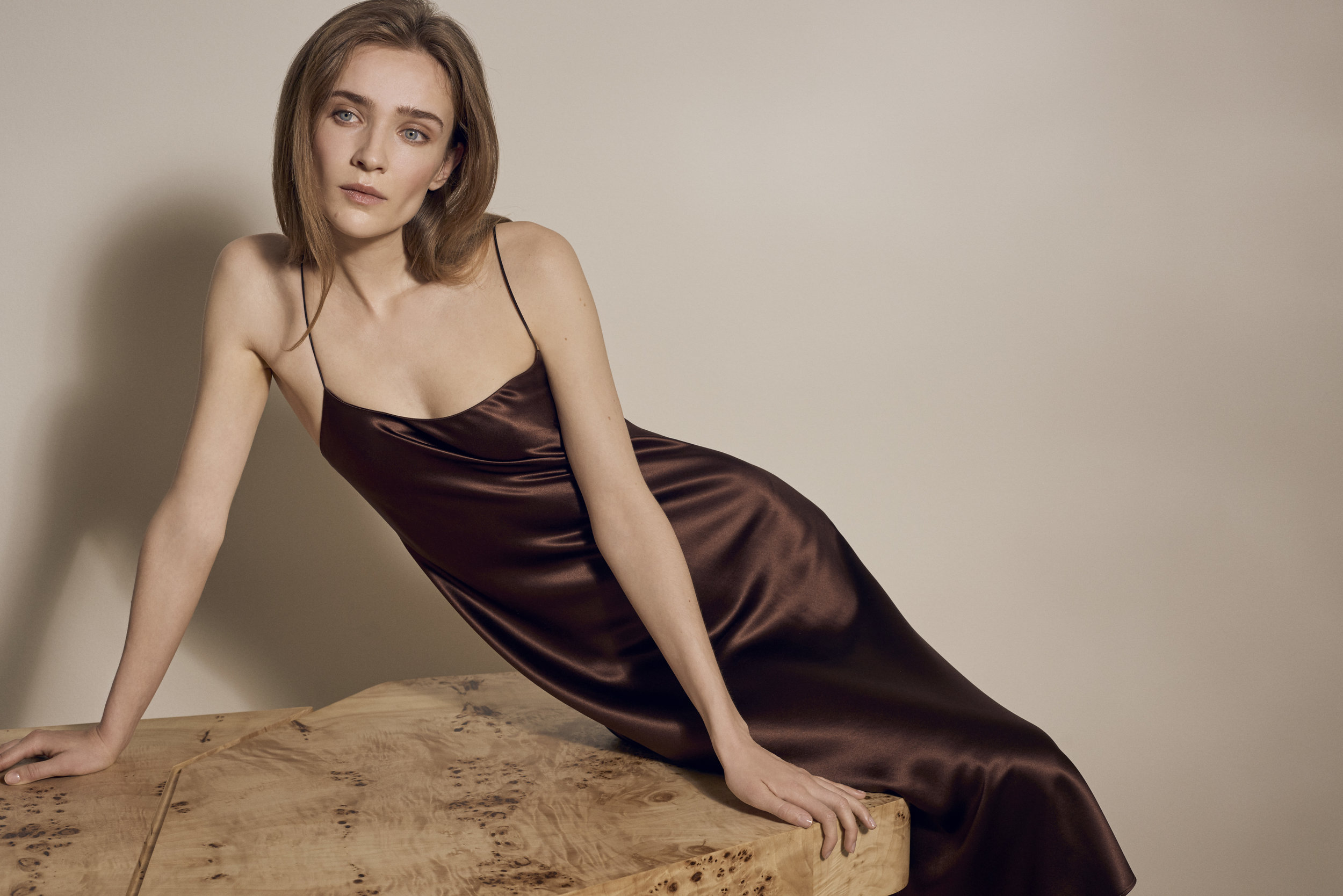 REFINE | The Carolyn | Silk Slip Dress in Chocolate