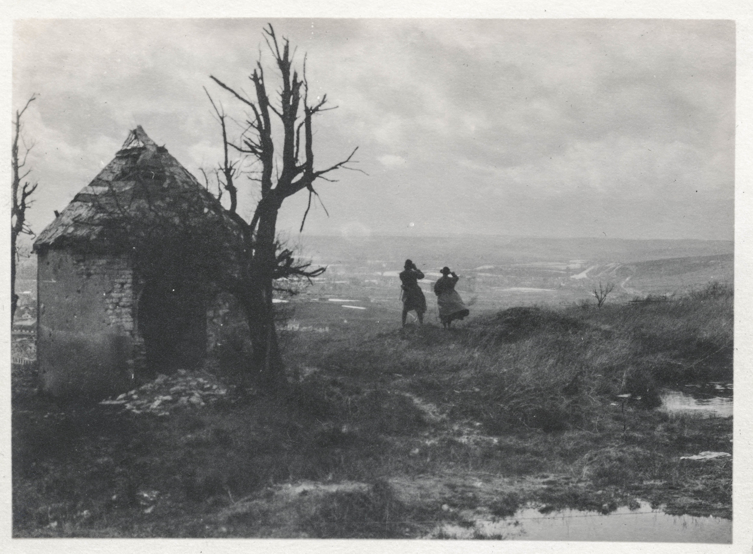 Two women looking out over Verdun during WWI
