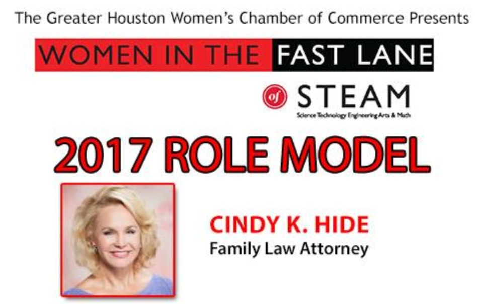 Family law attorney, and founder of Love, Money & the Law, Cindy Hide is awarded The Greater Houston Women's Chamber of Commerce, Women in the fast lane, Role Model of the year 2017.