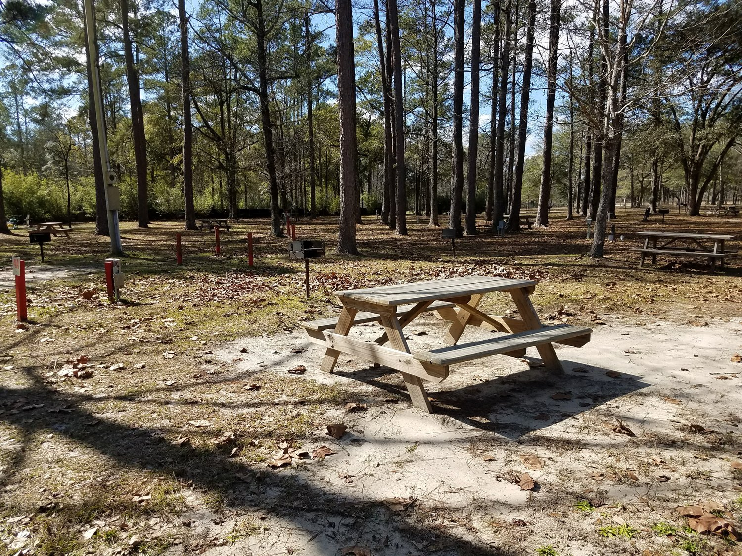 Picnic Tables and Grills - You will find picnic tables and grills in the grassy areas near the spring. Tables and grills are also located along the Spring Run and throughout our 25 acre wooded campground.