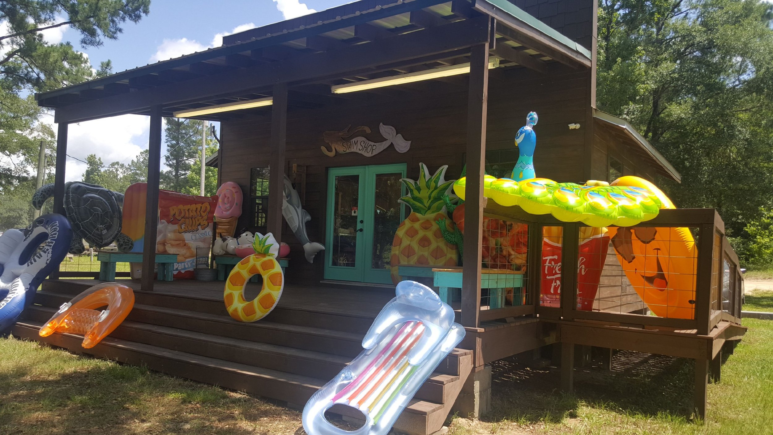 Swim shop - Here you will find anything you could need for your trip to the spring. From ice cream to sun screen youll find it here.*This is also a fill station for floats.