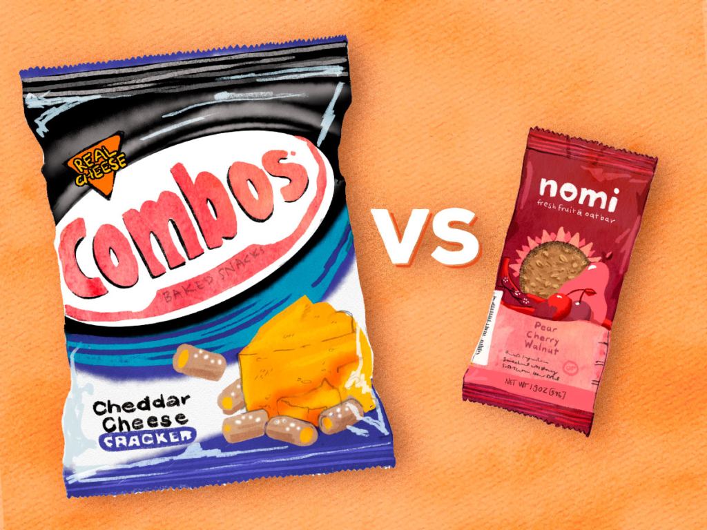 """Two illustrated food packages next to one another. A Combos Cheddar Cheese Cracker package and a Nomi Fresh Fruit & Oat Bar, in between are the letters """"vs."""""""