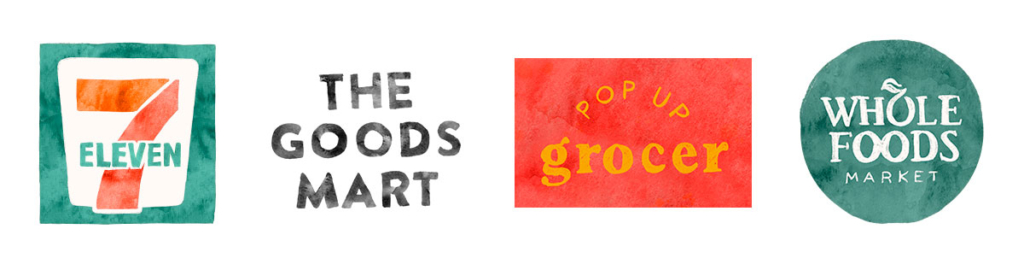 Four logos lined up next to each other. 7Eleven, The Goods Mart, Pop Up Grocer, Whole Foods Market.