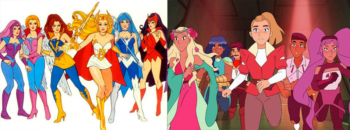 She-Ra characters from the 80's compared to the new characters.