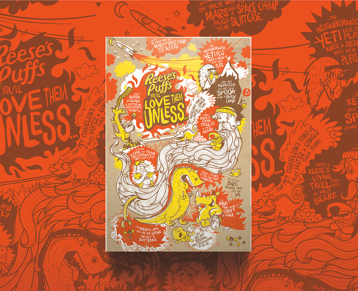 Reese's Puffs Cereal   Back Panel Engagement & Illustration