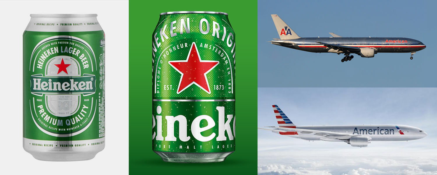 Heineken's new logo centric design and American Airlines' logo forward plane.