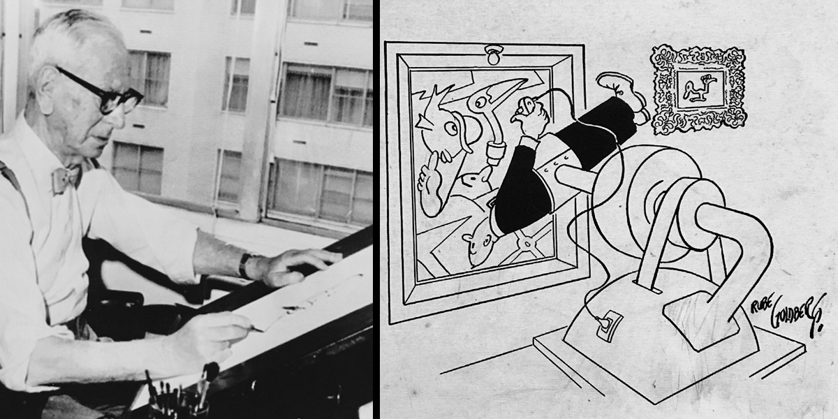 Goldberg drawing at his desk, juxtaposed with an original cartoon.