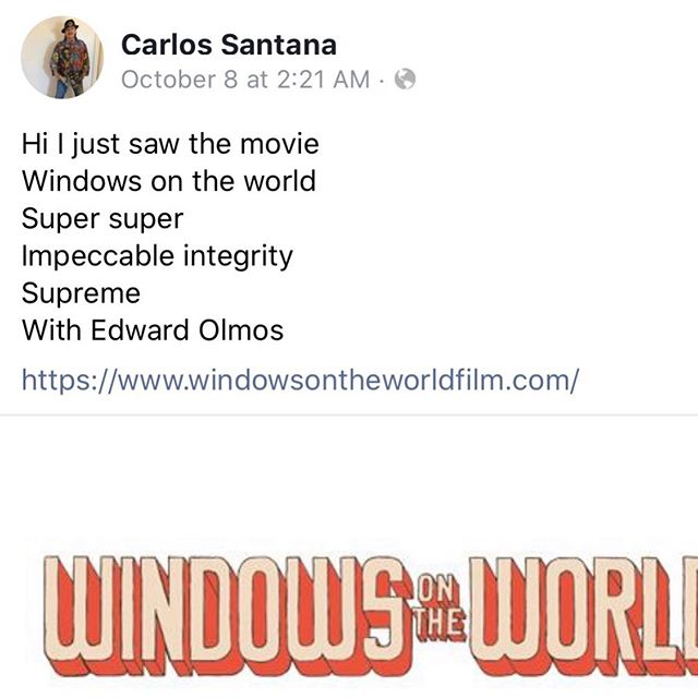 Thank you @carlossantana for your kind words!  #support #independentfilm #carlossantana #santana #windowsontheworldfilm