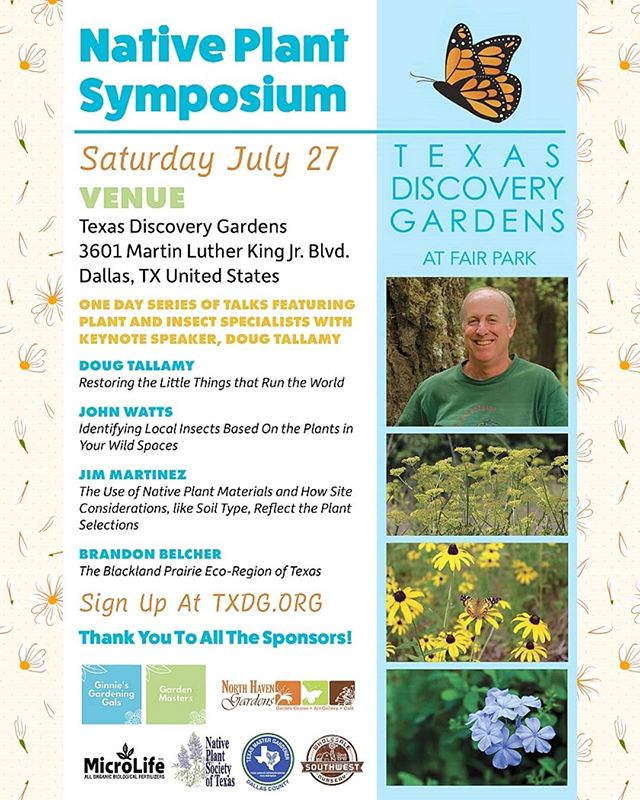 If you missed the last OHBA event or want to learn more from Doug Tallamy, Saturday is your chance! This weekend in Dallas, come hear from Tallamy and 3 more plant/insect specialists for a full day of terrific topics 🌼🐛🌺